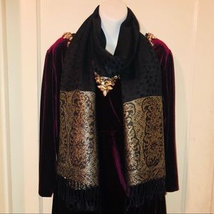 Accessories - Elegant Black and Gold  Scarf NWT